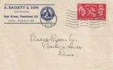 1951 Festival of Britain, A Basset & Son Cycle Specialists Plumstead FDC, 2½d Stamp only, Woolwich SE18 Cancel