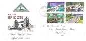 1968 British Bridges, North Herts Stamp Club FDC, Hitchin Herts. cds