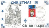 1966 Christmas, L A Grech FDC, 3d stamp only, Lincoln FDI