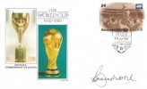 1986 Tuvalu, World Cup 1930 -1986 FDC, First Day of Issue Nanumea Tuvalu H/S, Signed by Bobby Moore