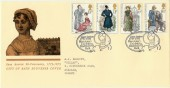 1975 Jane Austen City of Bath Official FDC, Jane Austen Bicentenary Exhibition Bath H/S