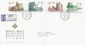 1988 QEII High Value Castles, £1, £1.50, £2, £5 Registered Royal Mail FDC, Buckingham Palace SW1 cds