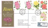 1976 Roses, Registered Post Office FDC, Buckingham Palace SW1 cds + Rose Cachet