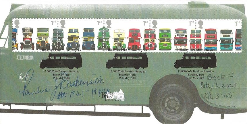 2001 Buses Bletchley Park Official First Day Cover, Code Breakers Bused to Bletchley Park H/S. Signed by Staff 1941 - 1945