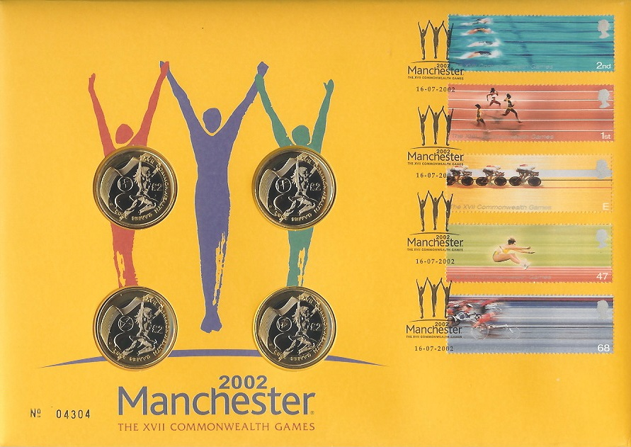 2002 Commonwealth Games Manchester, Royal Mint Coin FDC, 4 x £2 Coins, 2002 Manchester H/S.