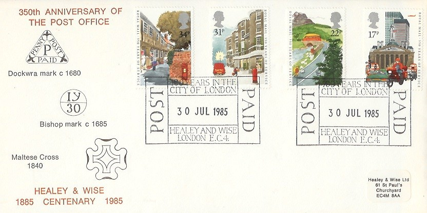 1985 The Royal Mail, Healey & Wise Official First Day Cover, 100 Years of the City of London Post Paid Healey & Wise London EC4 H/S.