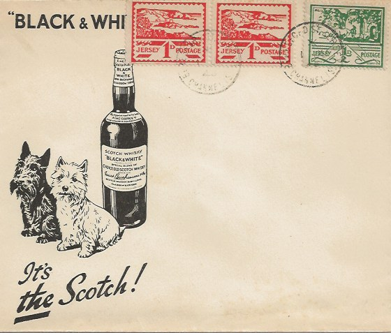 1943 ½d Green & 1d Red pair, Jersey Views, Illustrated Black & White Whisky FDC, Beresford St. Jersey Channel Islands cds