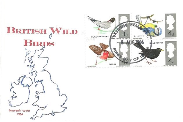 1966 British Birds, Newlands Rd Philatelic Society First Day Cover, Tunbridge Wells FDI