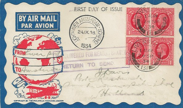 1934, King George V Block of 4 1d Scarlet Photogravures, Illustrated Air Mail First Day Cover, Liverpool 131 cds
