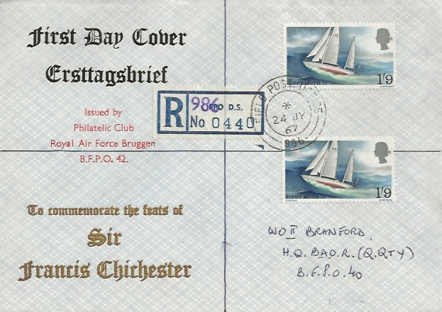 1967 Sir Francis Chichester, Registered RAF Bruggen First Day Cover, Field Post Office 986 cds