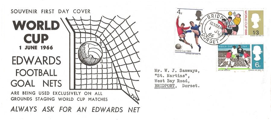 1966 VERY RARE World Cup Football, Edwards Football Goal Nets First Day Cover, Bridport Dorset cds