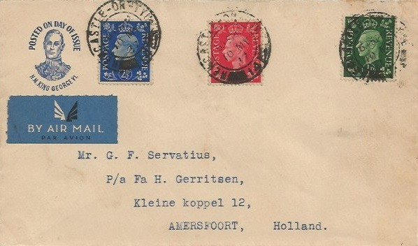 1937 King George VI Definitive Issue ½d, 1d, 2½d, Illustrated First Day Cover, Newcastle Upon Tyne 14 cds