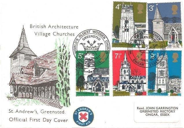 1972 Village Churches, St. Andrew's Official First Day Cover, World's Oldest Church Greensted H/S