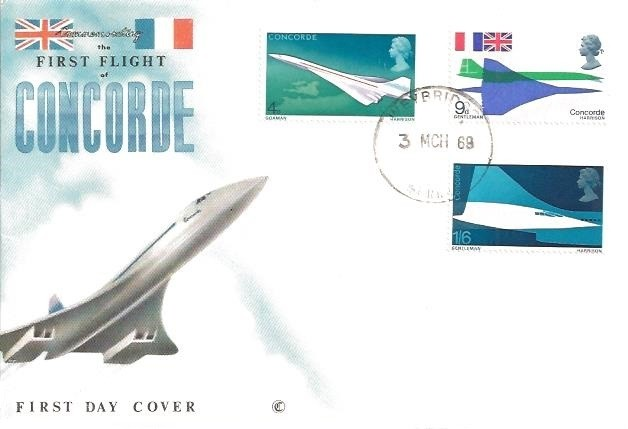 1969 Concorde, Connoisseur First Day Cover, Weybridge Surrey cds
