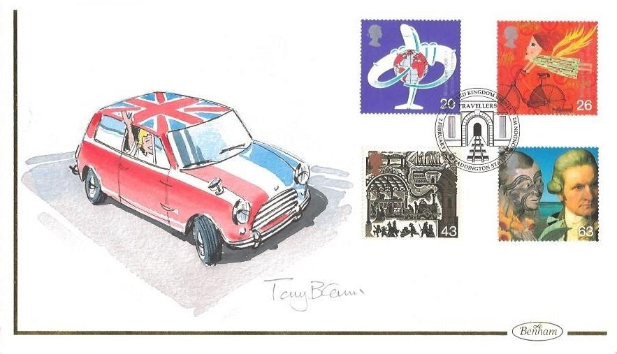 1999 Travelers' Tale, Benham Hand Painted FDC, Isambard Kingdom Brunel Paddington Station London W2 Signed by Artist