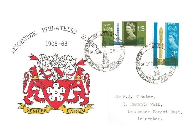 1965 Post Office Tower, Leicester Philatelic Society SCARCE Early Official FDC, Leicester Philatelic Society Diamond Jubilee H/S
