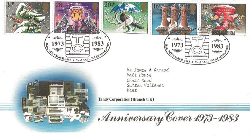 1983 Christmas Tandy Corporation VERY SCARCE Official FDC, Anniversary Celebrations 1973 - 1983 TC Walsall West Midlands H/S