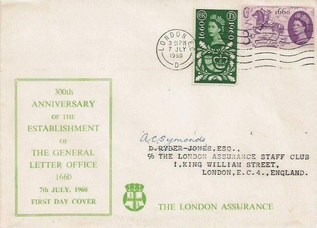 1960 General Letter Office, The London Assurance First Day Cover, London EC Cancel