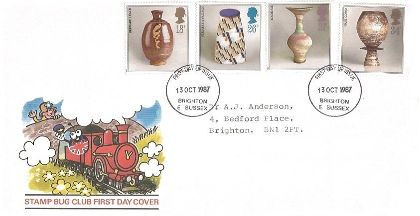 1987 Studio Pottery, Stamp Bug Club First Day Cover, Brighton E.Sussex First Day of Issue