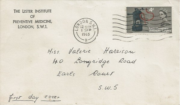 1965 Joseph Lister, The Lister Institute of Preventive Medicine FDC, 4d ordinary stamp only, London SW1 Cancel