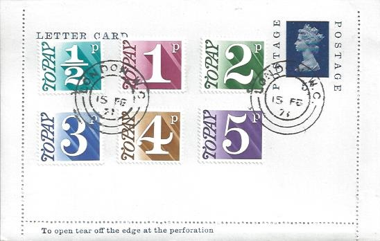 1971 Postage Dues, ½p, 1p, 2p, 3p, 4p, 5p on 5d Letter Card Postal Stationery, London WC cds