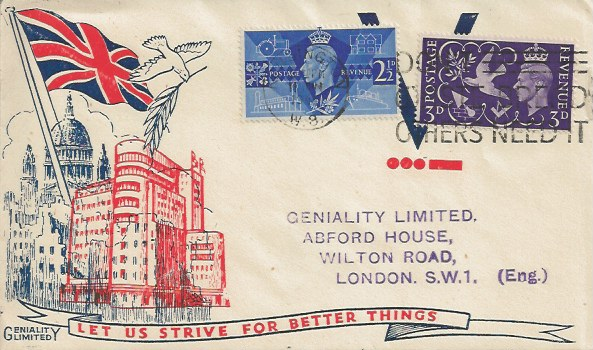 1946 Victory, Geniality Limited Cream Envelope First Day Cover, Don't Waste Bread Others Need it Kensington W8 Slogan