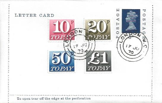 1970 10p, 20p, 50p, £1 Postage Dues, 5d Letter Card Postal Stationery, London WC cds