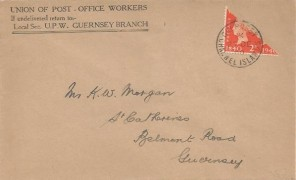1940, King George VI 2d Orange Centenary Bisect, Union of Post Office Workers Envelope FDC, Guernsey Channel Islands cds. During the German Occupation 2d KGVI Stamps in Guernsey were bisected, as supplies of 1d Stamps had run out by the end of 1940.