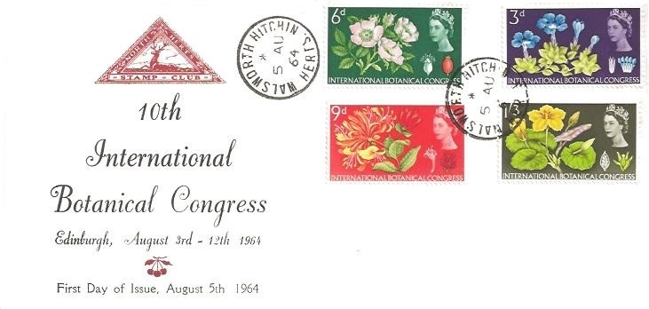 1964 Botanical Congress, SCARCE North Herts. Stamp Club First Day Cover, Walsworth Hitchin Herts. cds