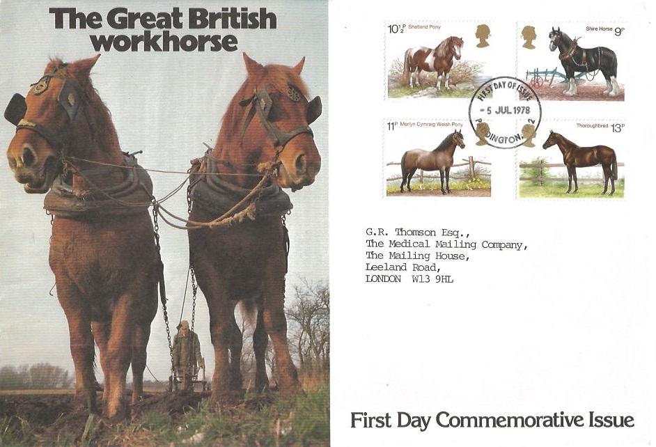 1978 Shire Horse Society, The Great British Workhorse FDC, Paddington W2 FDI