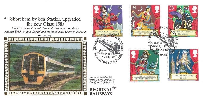 1992 Gilbert & Sullivan, SCARCE Benham R7 Official FDC, Shoreham by Sea Station Upgrade Shoreham by Sea Sussex H/S