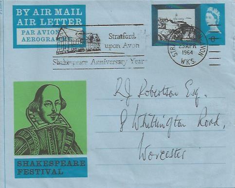 1964 Shakespeare Festival, Shakespeare Festival 6d Air Letter, RARE Stratford Upon Avon Shakespeare Year Slogan