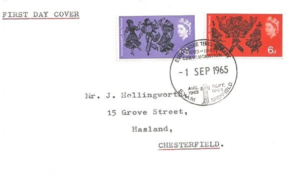 1965 Commonwealth Arts Festival, Plain First Day Cover, RARE Eyam Plague Tercentenary Commemoration Eyam Sheffield H/S