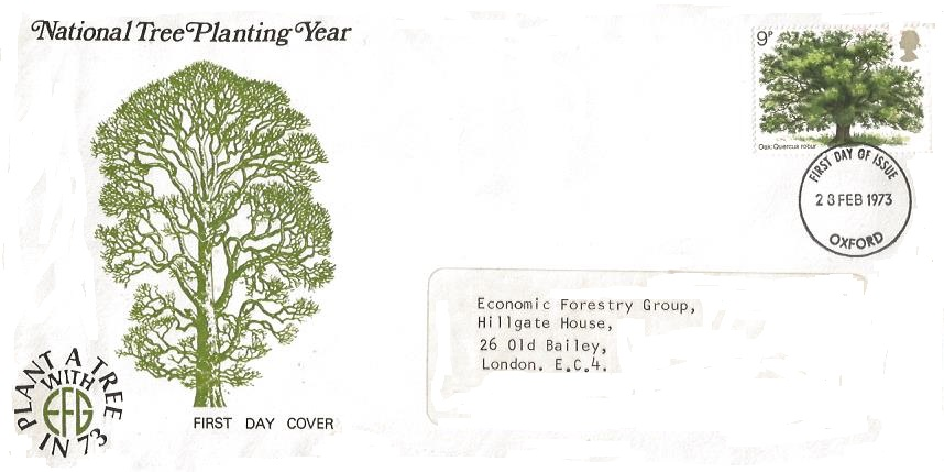 1973 British Trees the Oak, Economic Forestry Group First Day Cover, Oxford FDI. VERY SCARCE COVER DESIGN.