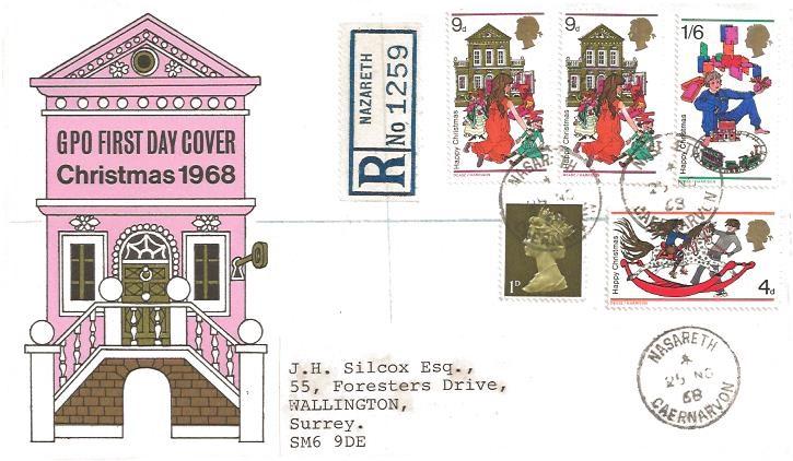 1968 Christmas, Registered GPO First Day Cover, VERY RARE Nasareth Caernarvon cds