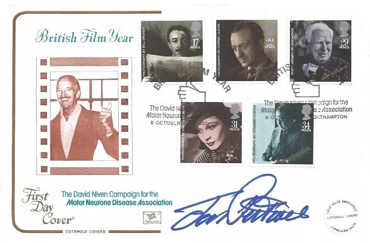 1985 British Film Year Cotswold Official FDC, British Film Year The David Niven Motor Neuron Association H/S. Signed by Jon Pertwee.