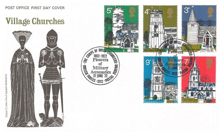 1972 Village Churches, VERY RARE full set 5 stamps on Post Office First Day Cover, The Corps of Royal Engineers BF1312PS H/S