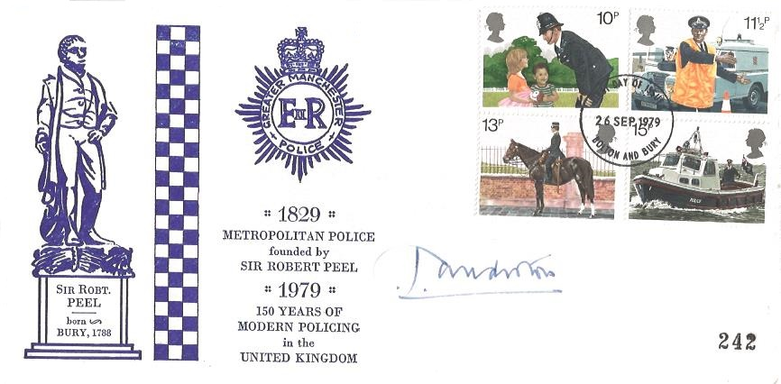 1979 Police, Greater Manchester First Day Cover, Bolton and Bury FDI, Signed by Greater Manchester Chief Constable