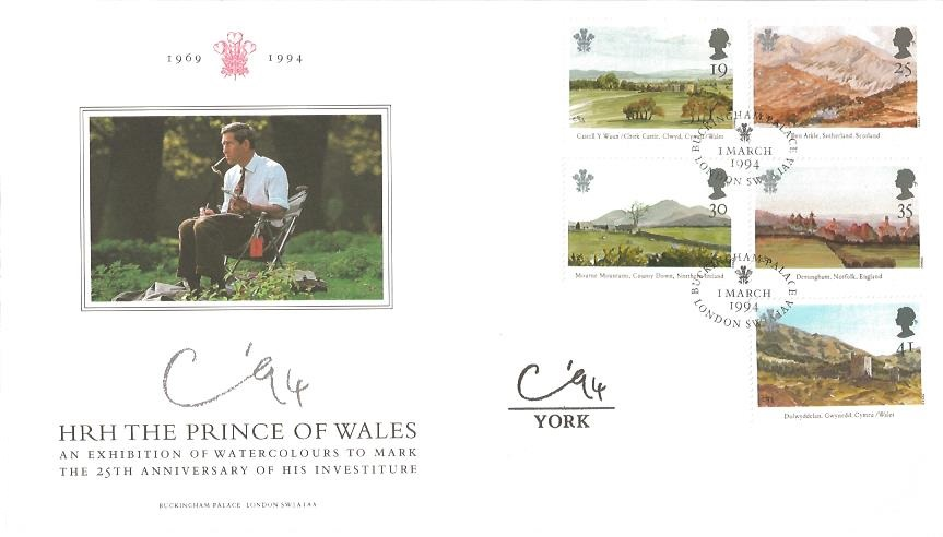 1994 The Prince of Wales. Prince's Trust Official First Day Cover, York 94 Cachet, Buckingham Palace London SW1 1AA H/S