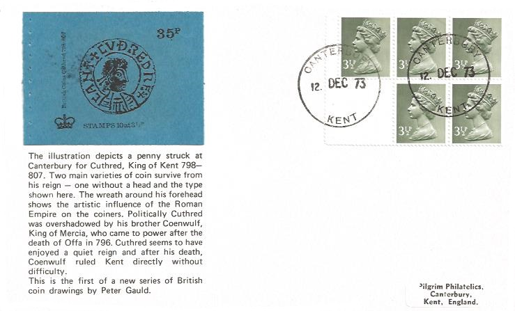 1973 35p SCARCE Booklet (5 x 3½p pane), Pilgrim First Day Cover, Canterbury Kent cds