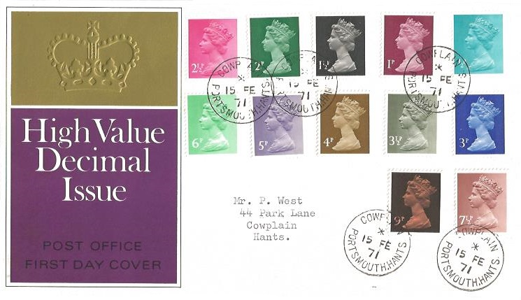 1971 QEII ½p to 9p Decimal Definitives, 1970 GPO First Day Cover, Cowplain Portsmouth Hants. cds