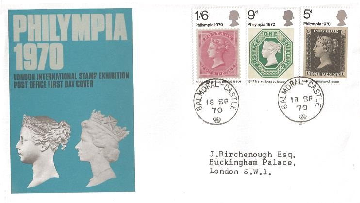 1970 Philympia, Post Office First Day Cover, SCARCE Balmoral Castle cds