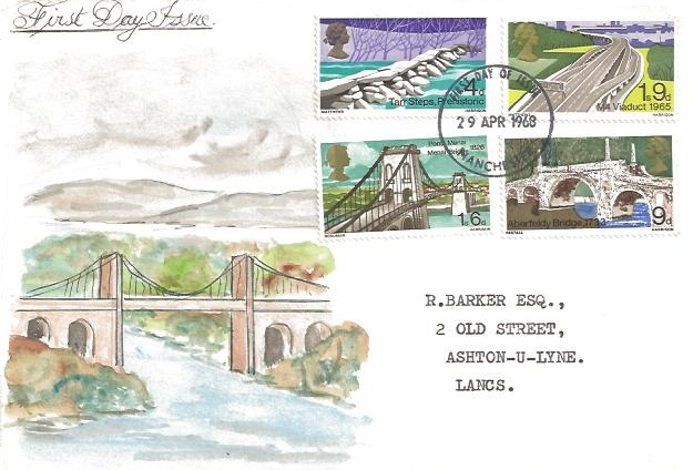 1968 British Bridges, HAND PAINTED First Day Cover of the Menai Bridge, Manchester FDI