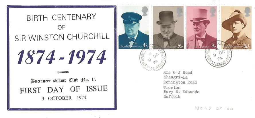 1974 Winston Churchill, Buccaneer Stamp Club LIMITED EDITION First Day Cover 11, Honington Camp Bury St.Edmunds Suffolk cds