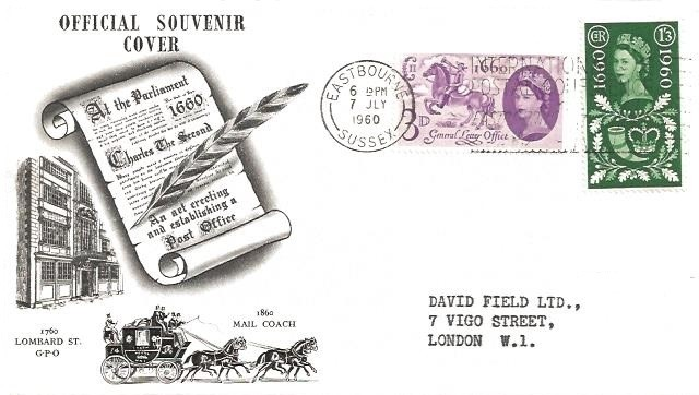1960 General Letter Office, London International Stamp Exhibition FDC, SCARCE International Postal Conference Eastbourne Slogan