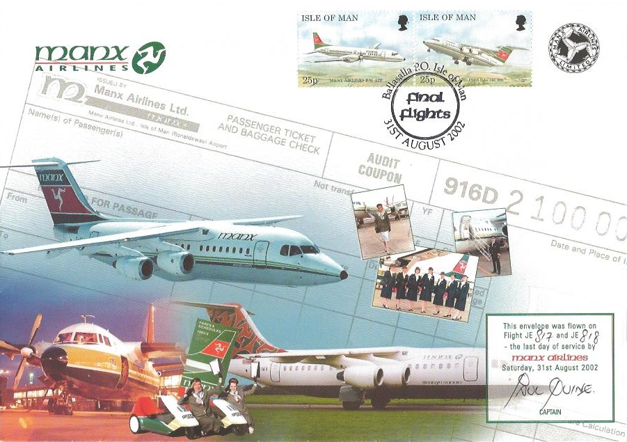 2002 Final Flight of Manx Airliners Cover, Final Flight Ballasalla PO Isle of Man H/S, Flown & Signed by Captain Paul Quine