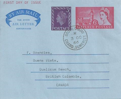 1966 QEII 9d (3d+6d) Airletter, First Day of 9d Rate, South Chard Chard Somerset cds