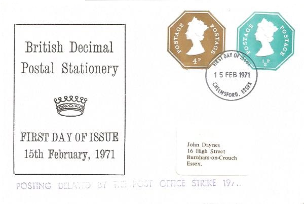 1971 4p+½p Postal Stationery Envelope used on First Day, Chelmsford Essex FDI