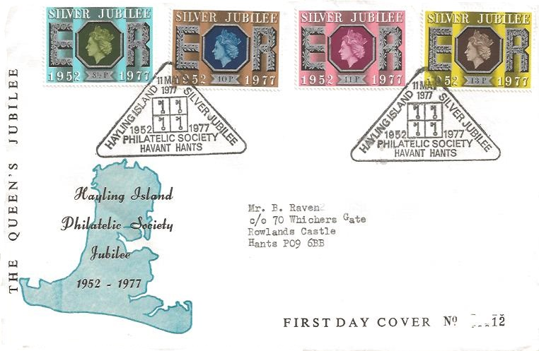 1977 Silver Jubilee, Hayling Island Philatelic Society Jubilee Official First Day Cover