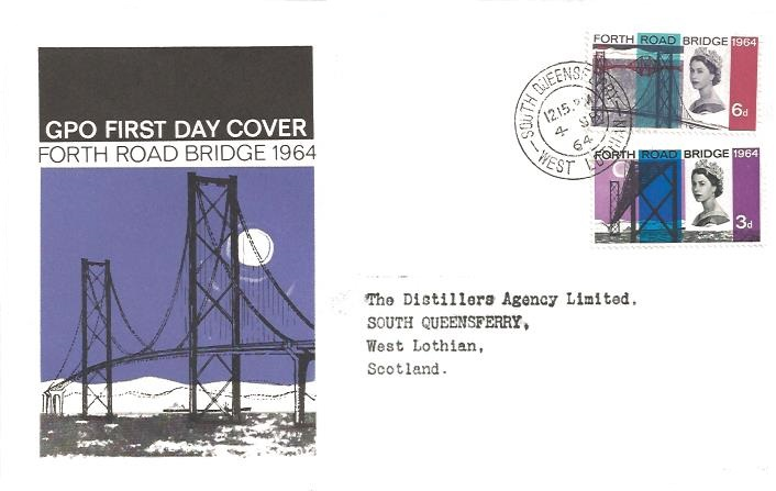 1964 Forth Road Bridge, GPO First Day Cover, South Queensferry West Lothian cds